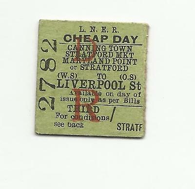 LNER ticket, Canning Town, Stratford Market, etc to Liverpool St, 1946