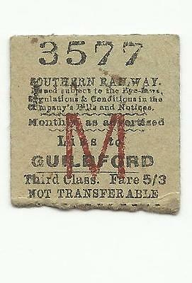 SR ticket, Liss to Guildford, 1948