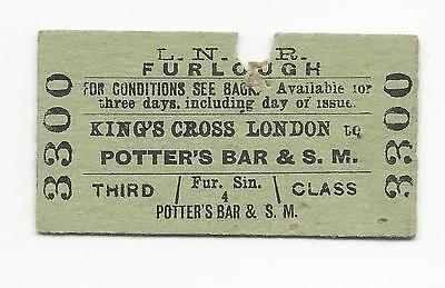 LNER ticket, Kings Cross to Potters Bar & South Mimms, 1966