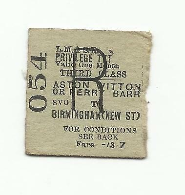 LMS ticket, Aston, Witton or Perry Barr to Birmingham New Street, 1953
