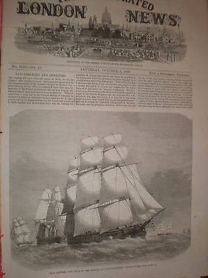 Race between 4 ships of the channel and mediterranean fleet 1869 old print