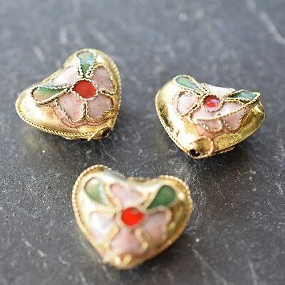 Cloisonne Enamaled Decorated Metal Heart 16Mm Beads *high Quality