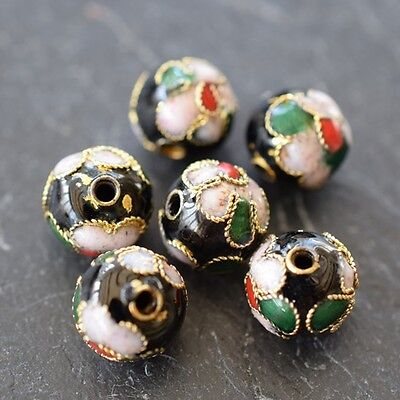 Cloisonne Enamaled Decorated Metal Round Beads *high Quality