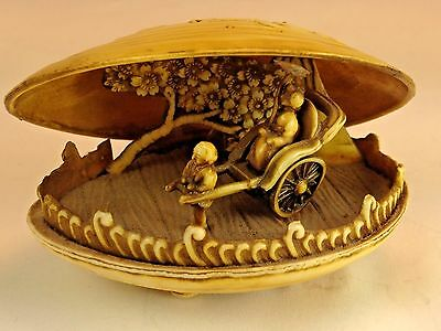 Antique Dragon Japanese Celluloid Carved Clam Shell Asian Miniature