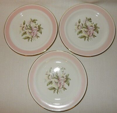 Set of 3 Homer Laughlin Bread Plates Eggshell Nautilus Pink Petal Apple Blossom