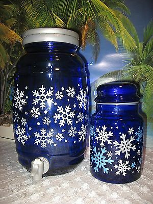 Snow Flakes On Large Deep Cobalt Blue Glass Jar With Spout And Small Canister