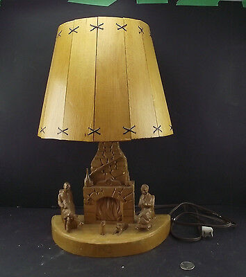 Vintage Quebec Camp Hand Carved Wooden Lamp Fire Place Rocking Chairs