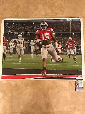 Ezekiel Elliott Ohio State Signed 24X32 CANVAS Inscribed JSA SD17543