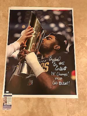 Ezekiel Elliott Ohio State Signed 32X24 CANVAS Inscribed JSA SD17541