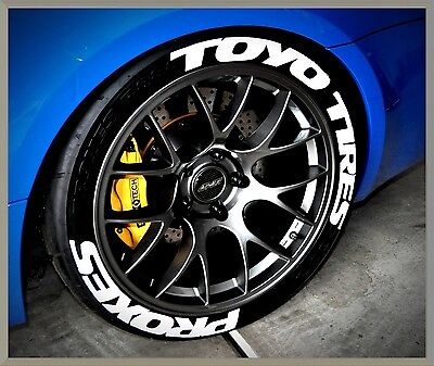"""PERMANENT TIRE LETTERS- TOYO TIRES PROXES - 1.25"""" 17""""18""""19"""" Wheels (8 Decal Kit)"""