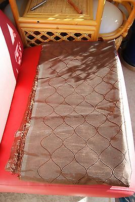 "BEAUTIFUL SHINY BROWN EMBROIDERED ANTIQUE SATIN FABRIC, NEW, 3 YARDS x 58"" wide"