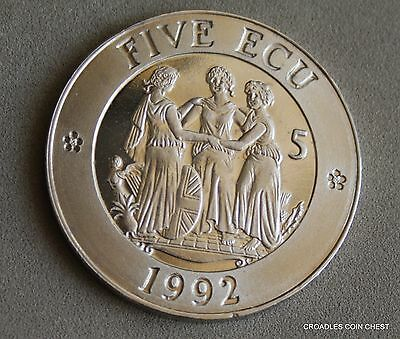 1992 Five Ecu Large Europe/united Kingdom Crown Sized Proof Like Scarce #twl60