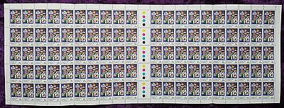 FULL SHEET 100 x 25c CHRISTMAS 1979 AUSTRALIA STAMPS - WORLD FLAGS STAMPS MINT