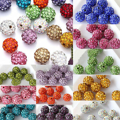 20/50Pcs Czech Crystal Rhinestones Pave Clay Round Disco Ball Spacer Bead 10mm