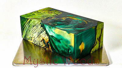 Emerald Gold Swirl - Triple Dyed Hybrid Stabilized Burl for Mods Scales & Grips