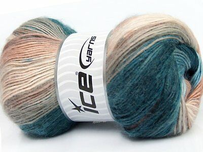 Lot of 4 x 100gr Skeins Ice Yarns MADONNA (40% Wool 30% Mohair) Yarn Turquoise B