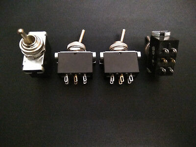 Vintage Toggle Switch Double Pole Double Throw (DPDT) 3A/250V, 6A/125V LOT OF 4