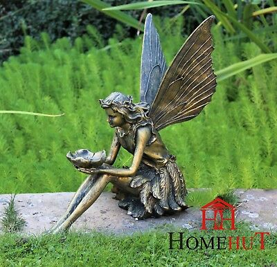 Large Garden Ornament Sitting Fairy Sculpture Antique Bronze Effect Sunflower