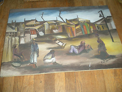 Unframed Signed Haitian Listed Artist Carlo Jean Jacques Painting Intrntnal Sale
