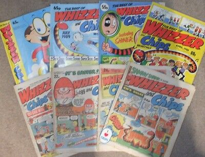 8x 1980's Whizzer And Chips Comics  **** FREE UK POSTAGE ****
