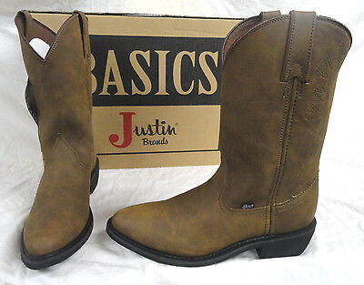 Justin Jb1100 Crazy Cow Brown Leather Cowboy Boots, Size 10.5 D, Brand New