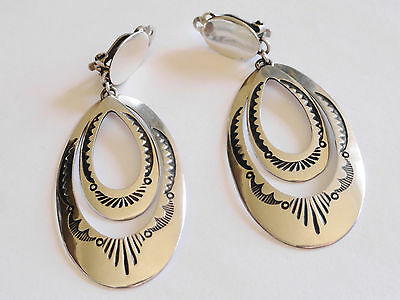 Sterling Silver Earrings Signed Mike Platero Clip-ons Native American Dangle