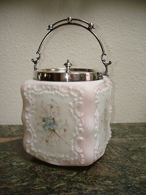 CF MONROE * WAVE CREST * Square Covered Jar with Silver Plated Lid circa 1900's