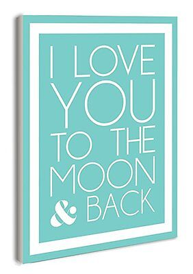 The Kids Room by Stupell I Love You to the Moon and Back on Blue with White Bord