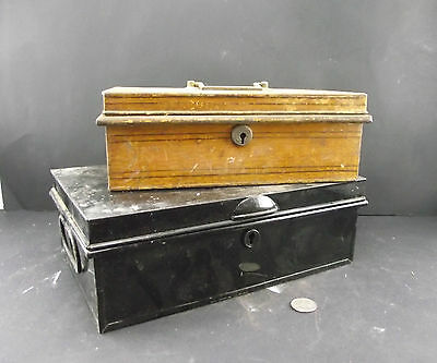 Vintage Grain Painted Cash Box And Black Enameled Cash Box Lot