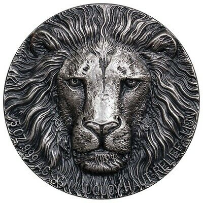 2016 5 oz Big 5 Lion High Relief Ivory Coast Silver Coin 5000 Francs  Last One!