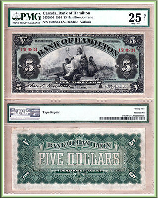 Bank of Hamilton 1914 $5. Beautiful Large Size Chartered Bank Issue. PMG VF25