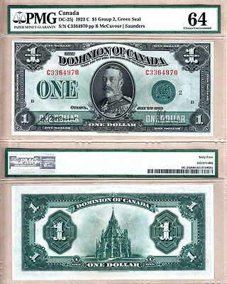 PMG CH UNC64 DC-25j 1923 $1 GREEN SEAL DOMINION OF CANADA  KGV PORTRAIT