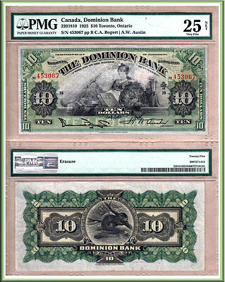 1925 $10 Dominion Bank of Canada in nice PMG VF25 (VF+) Condition