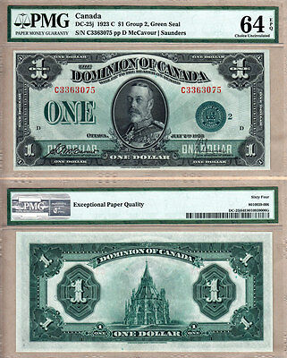 PMG CH UNC64 EPQ DC-25j 1923 $1 GREEN SEAL DOMINION OF CANADA  KGV PORTRAIT