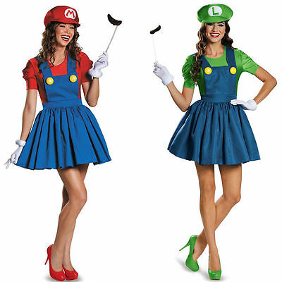 Adult Womens Super Mario AND Luigi Workmen Couples Fancy Dress Costumes Outfits