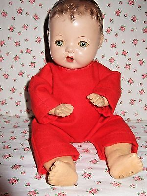 """Adorable Newly Made Red Flannel Sleeper Fits Effanbee 9"""" Dy-Dee Wee W/ Applique"""