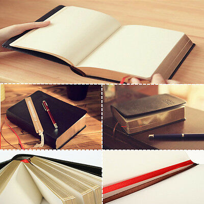 Blank Leather Notebook Vintage Classic Journal Diaries Book Sketchbook Cover