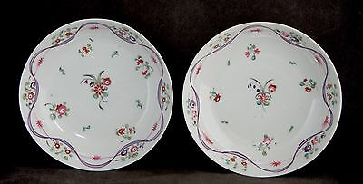 Pair of Antique C19th NEW HALL Hand Painted Shallow Bowls