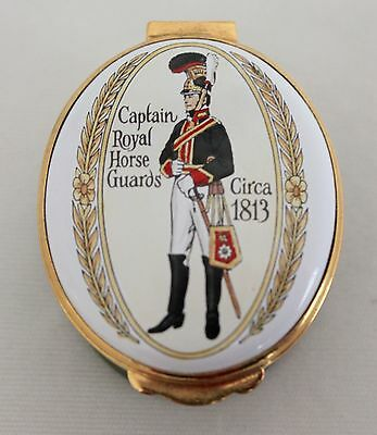 "CRUMMLES & Co ENAMELS Captain Royal Horse Guards OVAL HINGED BOX 2"" ENGLAND"
