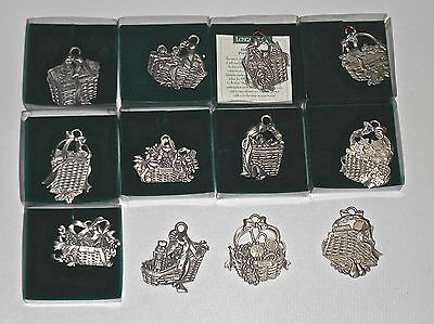12 Longaberger Pewter CHRISTMAS ORNAMENTS All Different
