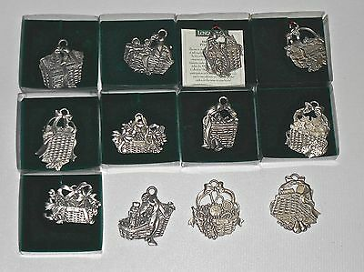 12 Longaberger Pewter Ornaments All Different