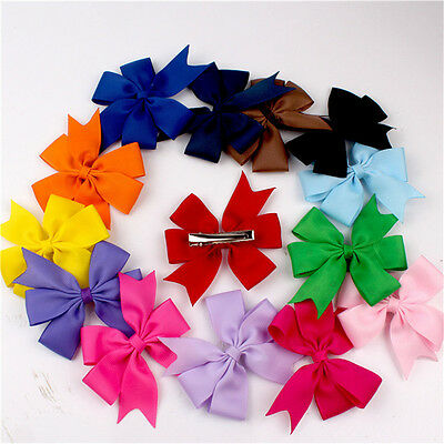 Hot 2Pcs Baby Ribbon Bow Cute Girls Hairpins Children Hair Clip Headwear