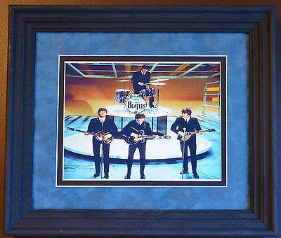 Beatles On Ed Sullivan 1964 Picture Double Matted And Framed In Solid Wood