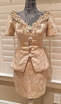 Vintage Lillie Rubin Cream Gold Brocade Beaded Collar Skirt Suit UNION MADE Sz S