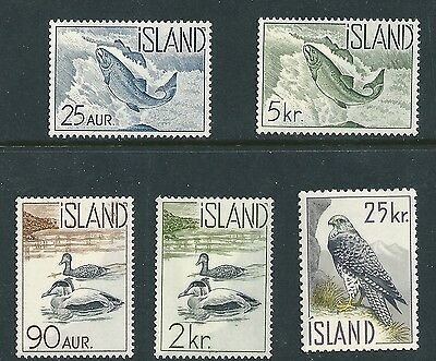 Iceland 1960 Fish and Birds of Iceland SG368-372 set mint hinged stamps