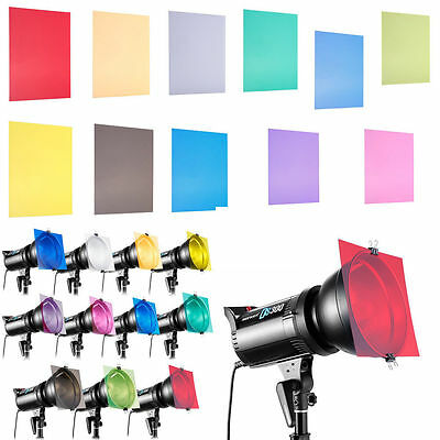"Photography Studio Flash Speedlite Strobe Lighting 12"" 11 Colors Set Gels Filter"