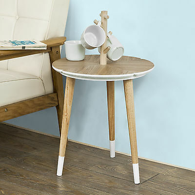 SoBuy® Round Wooden End Side Table,Tea Coffee Table with Cup Holders,FBT38-WN,UK