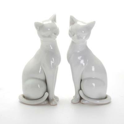 Vintage Near Pair Of Blanc De Chine Cat Figurines