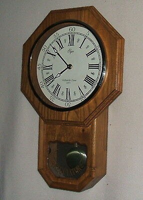 Elgin Regulator Schoolhouse Wall Clock with Westminster Chimes