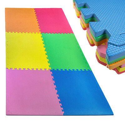 18pc Large Interlocking EVA Foam Floor Mats Exercise Kids Baby 24 Square Feet